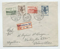 1937 Denmark Christian X set #258-61 FDC to Argentina registered [A39.5]