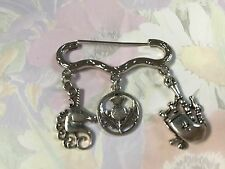 I LOVE SCOTLAND Silver Tone Kilt Pin Brooch Thistle Bag Pipe Unicorn in gift bag