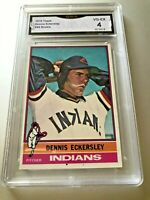 DENNIS ECKERSLEY ROOKIE CARD (HOF) 1976 Topps # 98 GMA Graded 4 VG-EX