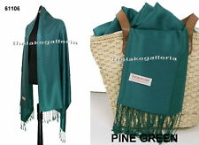 Pine Green2-Ply Pashmina Cashmere Wool Silk Blend XL Shawl Wrap Scarf Soft NEW