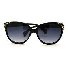 Gold Studded High Point Oversized Cat Eye Sunglasses - Black