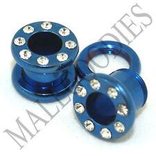 0888 Blue Screw-on CZ Tunnels 0 Gauge 0G Ear Plugs 8mm