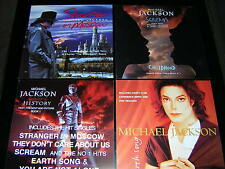"4 MICHAEL JACKSON PROMOTIONAL 12"" X 12"" CARDS - EARTH SONG, HISTORY +2"