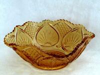 John Kemble Plytec Radiant Petal Vintage McKee Square Amber Bowl w/ Label