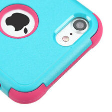 iPhone 7 / 8 - Hard&Soft Hybrid Armor High Impact Case Cover Turquoise Blue Pink