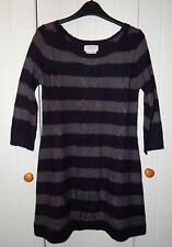 Next Navy & Grey Striped Scoop Neck 3/4 Sleeve Jumper/Sweater Dress size 8