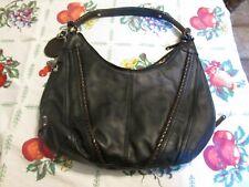 Tignanello LARGE  Black Leather Shoulder Hobo  Purse Bag HAND BAG PREOWNED NICE