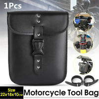 Waterproof PU Leather Motorcycle Side Tail Bag Storage Saddle Bag+Mounting Strap