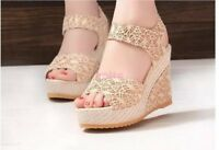 Women Ladies Fashion High Heel Wedge Ankle Strap Peep Toe Sandal Shoes Size N30