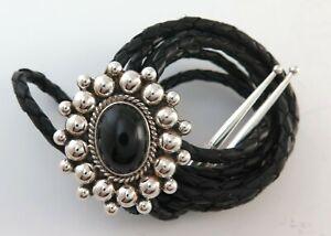 Sharp Sterling Silver & Black Onyx Ornate Southwestern Bolo Tie