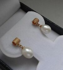ELEGANT TEXTURED 14K YELLOW GOLD CULTURED WHITE 7mm TEAR DROP PEARL EARRINGS
