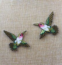 Set Of 2 Hummingbird Iron / Sew On Full Embroidered Patch Appliqués Badge