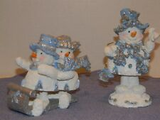 2 Snow Drifters figures Snowman and sledders EUC Blue Band Designs 1999