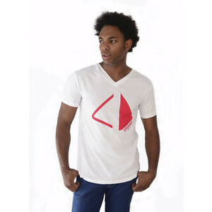 Amnesia Ibiza Club Mens T-shirt V-neck Pyramid Logo WHITE Red RRP £60 OFFICIAL