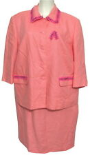 Talbots 100% Irish Linen Blazer Jacket 2 pc Dress 14W Set Salmon Pink XL Bead