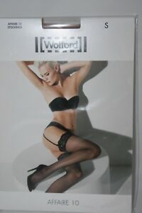 Wolford ~ AFFAIRE 10 ~ stockings BNWT ~ Small UK 10/12 lace top caramel brown