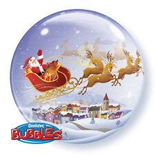 "CHRISTMAS BALLOON 22"" A VISIT FROM SANTA CLAUS SEE THRU BUBBLE QUALATEX BALLOON"