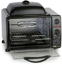 Toaster Oven Black 23-Liter With Rotisserie And Grill Griddle Top And Lid
