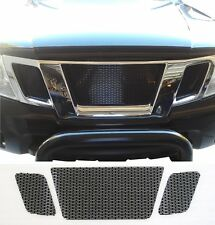 CCG GLOSS BLACK PERF SS PRECUT MESH GRILL SET FOR 2009-19 NISSAN FRONTIER GRILLE