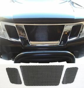 CCG GLOSS BLACK PERF SS PRECUT MESH GRILL SET FOR 2009-20 NISSAN FRONTIER GRILLE