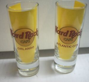 lot of 2 Hard Rock Cafe shot glass glasses red letters