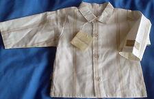 Boys French Designer Miniman Cream Striped Shirt Age 6m RRP £22.99