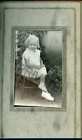Vintage Photo in Folder - Little Blonde Haired Girl in Small Chair - Close Up
