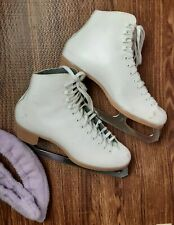 Riedell White Ladies 10 Leather Roller/Ice Skating Boots