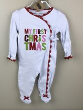 NWT Mud Pie Baby Girl 3-6 Months My First Christmas Ric Rac Kimono Sleeper $34