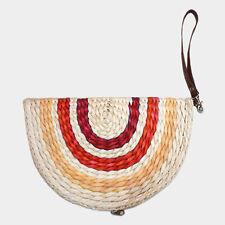 Semi Circle Straw Zip Around Wristlet Clutch Bag Designer Inspired Various Color