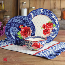 The Pioneer Woman Heritage Floral 12-Piece Dinnerware Set Blue New