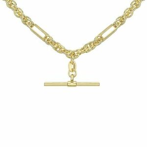 9ct Yellow Gold 20 Inch Figaro Rope Chain Albert T-Bar Necklace