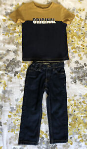 La Redoute Boys Kids Polo Top Casual Trousers Jeans Blue Yellow 3- 4 Years 104cm