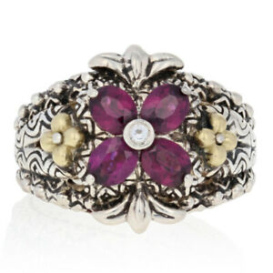Barbara Bixby Rhodolite Garnet & White Topaz Ring Silver & 18k Gold Size 7