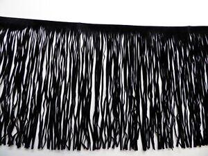 Fringing, Tassels, Black, Suedette, 30cm / 12 inches Long