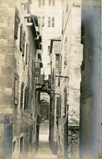 Croatie, Split, Ruelle avec vue de la cathédrale, ca.1910, vintage silver print