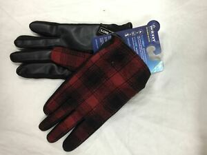 Isotoner Men Casual Tweed Gloves, Red, Large