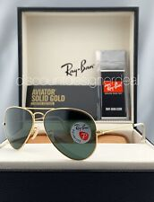 Ray Ban Aviator RB3025K Sunglasses 160/N5 SOLID 18K Gold Green Polarized Lens 58
