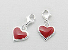 Solid Sterling Silver Red Enamel Heart Charm Bracelet Pendant Necklace