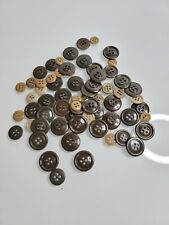 Lot of 60 Various Us Army Military Od Green Fatigue Buttons