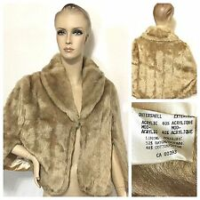 Womens Mink Stole Vintage 60s Faux Fur Blond Wrap Cape Shawl Coat jacket Vintage
