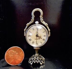 Lovely Elegant Bronze Glass 2-Dome Mantle Dollhouse Miniature (Working)Clock