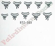 Black & White Sexy Lace Nail Art Stickers Water Decals-Sheet No. STZ-253