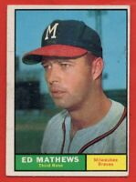 1961 Topps #120 Eddie Mathews EX/EX+ MARKED Milwaukee Braves HOF FREE SHIPPING