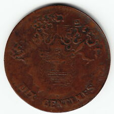 CAMBODIA 10 centimes 1860 old KM43 Br 1yr type Norodom I Crude local strike RARE