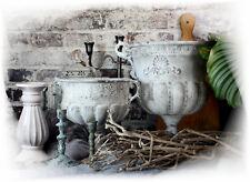 Pflanz-topf METALL Shabby chic Blumen-topf Garten-Deko-Schale POKAL Grau Vintage