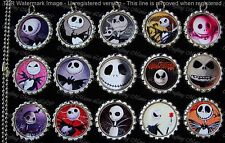 15 Nightmare Before Christmas Silver Flat Bottle Cap Necklaces Set 3