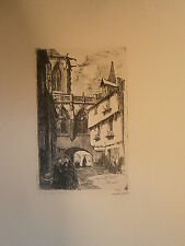 Planche gravure Eglise de la trinité à Falaise Charles Adolphe Huard