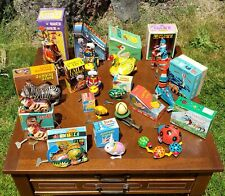Lot of 15 Vintage Wind Up Metal Toys in Original Boxes and keys for each EUC