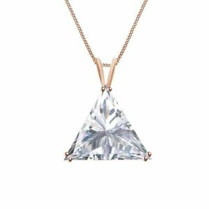 Simulated Diamond 1ct White Triangle 14K Rose Gold Solitaire Pendant Necklace